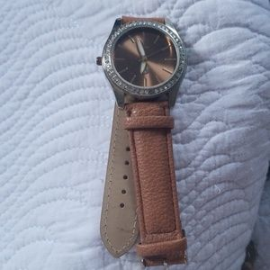 Francescas leather strap brown and white watch